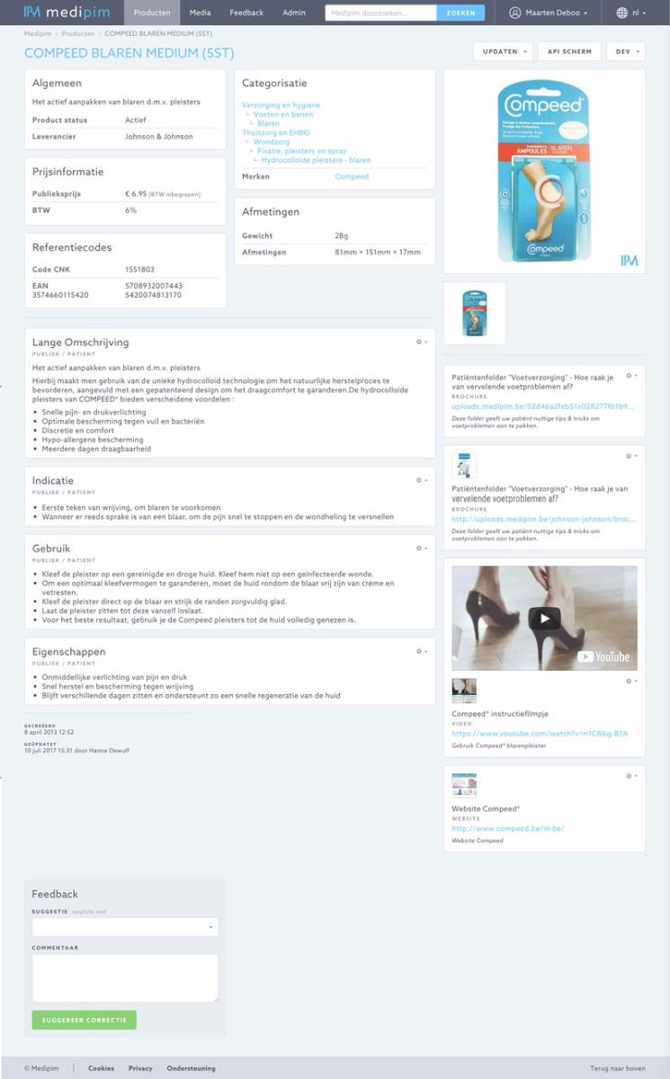 Screenshot productfiche Medipim